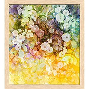 AZ White Flowers & Soft Color Leaves Canvas Painting Natural Brown Wood Frame 12 x 13.3inch