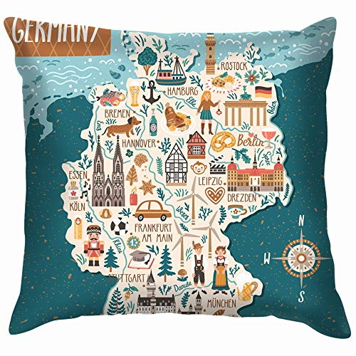 beautiful& Stylized Map Germany Travel Buildings Landmarks Cotton Linen Home Decorative Throw Pillow Case Cushion Cover for Sofa Couch 18X18 Inch