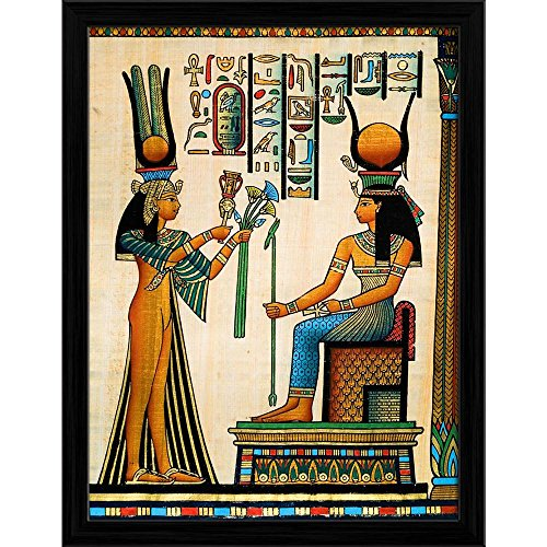 Pitaara Box Egyptian Queen Nefertari Making An Offering to Isis D1 Canvas Painting Black Frame 18 X 23.7Inch (Queen-size-split-box)