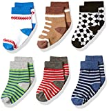 Jefferies Socks Baby Big Boys' Stripes and Sports Pattern 6 Pack