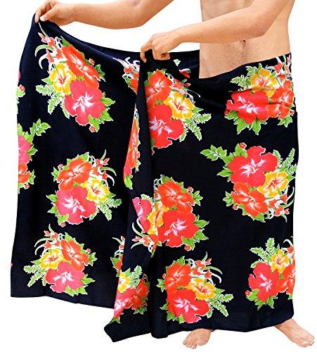 LA LEELA Badeanzug Männer Blumen Schwimmen Pareo Wrap Coverup Sarong Strand roten Badeanzug