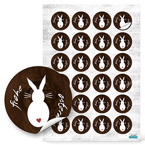 48 Stück braun rot weiße FROHE OSTERN Osterhase Osteraufkleber - Aufkleber selbstklebende Etiketten Sticker - Verzierung Verpackung Deko Osternest Hase vintage nostalgie mit Herz für Geschenke