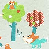 Baumwollstoff / Kinderstoff | Welt der Wildtiere Stoff (Herbstausgabe) - Karotte, rot und grün (Lagune-grün, Grasgrün und Minze) - Grundfarbe: Leinen Farbe | 100% Baumwolle | Stoffbreite: 155 cm (1 meter)
