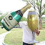 ABYED Champagner Flasche,Weinglas,Kelchglas, Aluminiumfolie, Ballon, Geburtstag-, Hochzeit-, Single-Oktoberfest-, Weltmeisterschaft-Party, Bar Dekoration