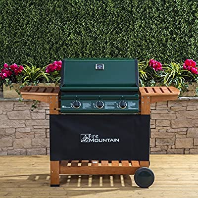 Fire Mountain Elbrus 3 Burner Gas Barbecue in Powder-Coated Steel and Wood - Temperature Gauge, Piezo Ignition, Drip Tray, Wooden Shelves, Free Propane Regulator & Hose by Fire Mountain