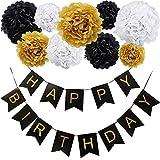 KUNGYO Happy Birthday Girlande Set,Alles Gute zum Geburtstag Party Banner und Set von 9 Tissue Papier Pom Poms Blumen für Geburtstagsfeier Dekorationen Schwarz Banner Gold Brief