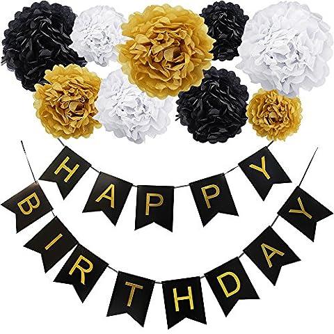 KUNGYO Happy Birthday Joyeux anniversaire Fête Bannière et Ensemble de 9 Papier de soie pompons Kit Fleurs pour Décorations de fête d'anniversaire(Bannière Noir Lettre D'or)