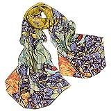 TONY & CANDICE Scialle lungo di seta 100% seta con bordo arrotolato a mano Collezione Charmeuse Art di lusso, 62 'L * 15.7' W (Van Gogh's Irises)
