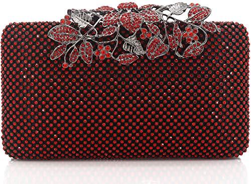 Dexmay Damen Abendtasche mit Blumen-Verschluss und Strasssteinbesatz, Rot (rot), Medium - Kleid Valentinstag-formale