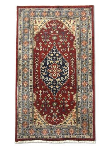 Tradizionale a mano Caucasian tappeto persiano, lana/Art. Seta (highlights), rosso scuro, 92x 156cm, 3'x 5' 5,1cm ( ft)