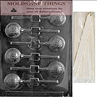 GOLF BALL LOLLY Sports Chocolate Candy Mold With © Molding Instruction + 50 Lollipop Sticks by MOLDS AND