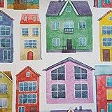 Staab's Beschichtete Baumwolle Bunte Häuser (Meterware, Qualität Zum Nähen) (100 x 140 cm)