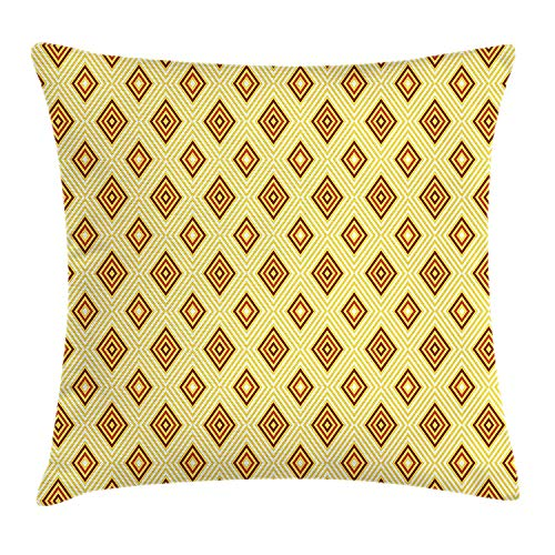 Retro Throw Pillow Cushion Cover, Old Fashioned Diamond Shapes with Inner Lines Sixties Style Rhombus Design, Decorative Square Accent Pillow Case, 18 X 18 Inches, Pale Yellow Amber - Amber Kings Crown