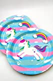 Pack of 20 Multicolored Unicorn Theme Paper Plates|Unicorn Theme Party Supplies|Blue