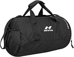 Nivia 5183 Polyester Gym Duffle Bag, Medium (Black)