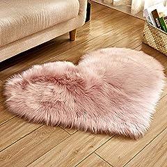 Idea Regalo - Trayosin - Tappeto a forma di cuore, in finta pelliccia d'agnello, pelo lungo, soffice, effetto pelliccia d'agnello, per salotto, Pelle di agnello, Colore: rosa., 40 x 50 cm