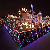 LEORX Cadena de luz LED 10M 220V 100 LED 8-modo ambiente cadena de fibra óptica de iluminación LED luces de Navidad boda partido jardín (Colorido)