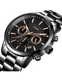 Herren Uhr LIGE Männer Luxus Schwarz Klassisch Edelstahl Business Armbanduhr, Wasserdicht Sport Uhren Chronograph Analog Quarzuhr