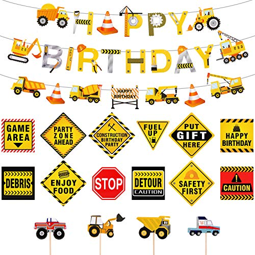 Zonon Construction Birthday Party Supplies Dump Truck Party Decorations Kits Set, 39 Pieces in total