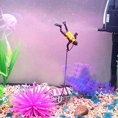DIGIFLEX Aquarium Dekoration Taucher und Schatzkiste Ornament Fisch Tank - 6