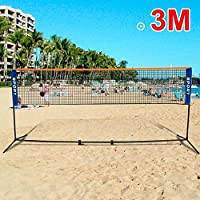 Popamazing 3m/4m/5m outdoor portable Foldable Badminton Tennis Net Adjustable Volleyball Net with stand poles