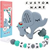 Panny & Mody - Chupetero Personalizado Para Bebe con Nombre Bola Silicona Antibacteria con Elefante Mordedores(Gris)