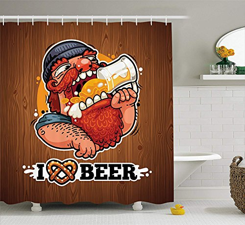 Baby Mild Bar Soap (ZiJface Manly Decor Collection, Man Loves Beer Drinking Beverage Glass Mustache Beard Bar Enjoyment Rural Symbol, Polyester Fabric Bathroom Shower Curtain, 84 Inches Extra Long, Wood Orange Mustard)