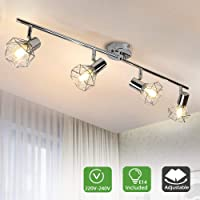 PADMA 4 Way Ceiling Spotlight Fitting Chrome Finish Shades 4×4W E14 LED Bulbs Included, Kitchen Ceiling Lighting Spot Caged Ceiling Lights for Living Room Bedroom Cloakroom