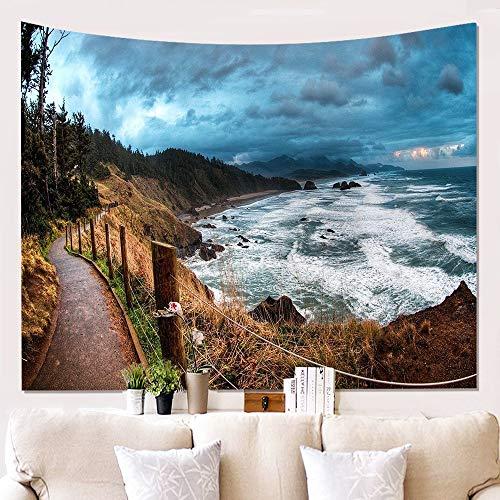 meaosyy Landschafts-Wand-Stoff, der Stoff-Hintergrund-Stoff-Malerei-Tapisserie-Wand-Dekorations-Decken-Badetuch-Matten-Decken-Tabelle hängt-150x150CM -