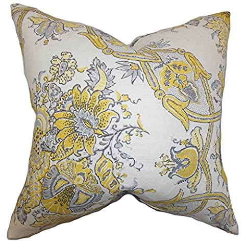 The Pillow Collection STD-d-sissy-jonquil-l100 Yellow Laelia Floral Bedding Sham, Standard/20
