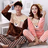 &zhou Couples pajamas leisure winter thick pajamas home clothes Round neck sets