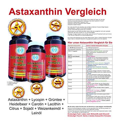 6,98mg Lycopin hochdosiert plus 4mg Astaxanthin 250 Kapseln Soft Gel günstig heidelbeer grüntee omega 3 egcg