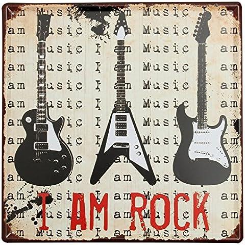 Guitarra Cartel de chapa de metal de la vendimia de la placa de Poster Bar Pub Inicio decoraci—n de la