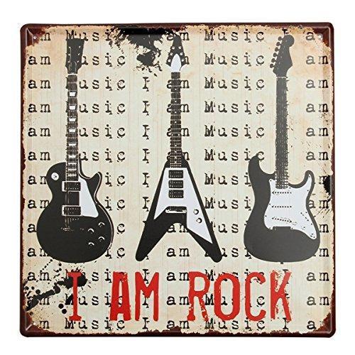 Bluelover Decoración de la pared guitarra lata signo Vintage Metal pl