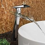 VILSTEIN© Waschtisch-Armatur Einhebelmischer Einhand Wasserhahn mit Wasserfall-Effekt Armatur für Bad Badezimmer Aufsatz-Waschbecken, Verchromt, Glas-Auslauf, 27cm, Standard Anschluss 1/2