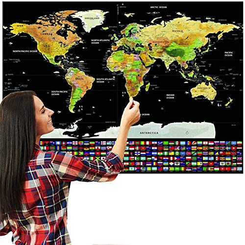 Caxmtu Travel Edition World Map Journal Poster Scratch Off Personalized Log