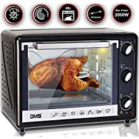DMS® 48L Mini-Backofen mit Drehspieß Umluft Pizzaofen Ofen , Backofen mit Innenbeleuchtung, Timer 2000 Watt herausnehmbares Krümelblech OCR-48D