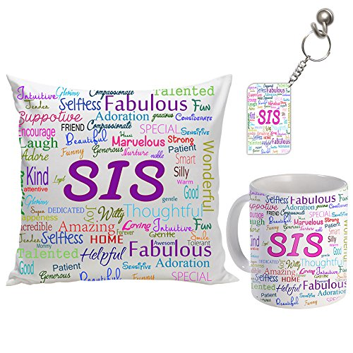 Sky Trends Combo of Ceramic Coffee mug, keychain and Cushion Cover with filler Surprise Gift for Sister St-07 st-sistercmb07 (Multicolour)