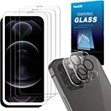 TOPACE Cristal blindado compatible con iPhone 12 Pro Max (3) + cristal blindado para la cámara (2), protector de pantalla de