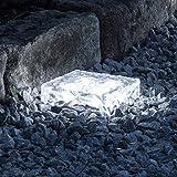 LED Solar Glas Pflasterstein Wegbeleuchtung weiß groß Lights4fun