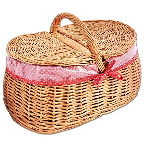 Einkaufskorb / Picknickkorb mit Stoffbezug Weidenkorb Autokorb Weide Korbwaren Korb GROßES AUSWAHL (Typ 5: (L) 44 x (B) 35 x (H) 24 / 35)