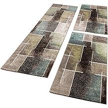 Alfombras De Pasillo Diseño Moderno Multicolor Gris Turquesa Verde Kit 3 Piezas, tamaño:2x 70x140 1x 70x250