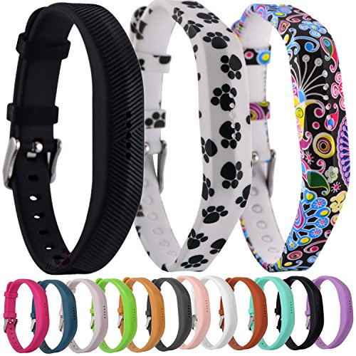 Greatfine Uhrenarmband Fitness-Armband Silikon Ersatzband Armband für Fitbit Flex 2 Fitness-Band Zubehör (Black/Dog/Folk Custom 3pcs)