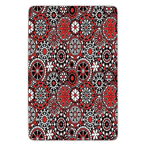 Bathroom Bath Rug Kitchen Floor Mat Carpet,Red Mandala,Geometric Shapes Forming Flower Figures Mosaic Style Artful Ethnic Design Decorative,Black White Red,Flannel Microfiber Non-slip Soft Absorbent