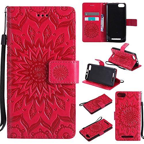 Für Wiko Lenny 3 Fall, Prägen Sonnenblume Magnetische Muster Premium Soft PU Leder Brieftasche Stand Case Cover mit Lanyard & Halter & Card Slots ( Color : Red ) Red