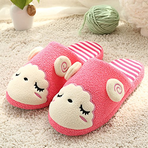 Donne Rosa Rosso Disegno Cartone Pantofole Calde Pantofole Animato Inverno Paragon Felpa Pantofole Simpatico Uomini 01 Pecora Scarpe 6S6qw5a