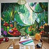 Wandgemälde Benutzerdefinierte 3D Fototapete Handgemalte Waldpilzstraße Kinderzimmer Wanddekor Tapeten Für Wohnzimmer Wandmalerei,280Cm(H)×460Cm(W)