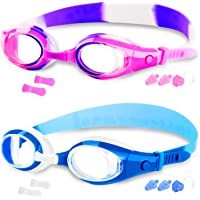 COOLOO 2-PACK Kids Swimming Goggles Junior Children Girls Boys Early Teens Age 3-15, with Anti-Fog, Waterproof…