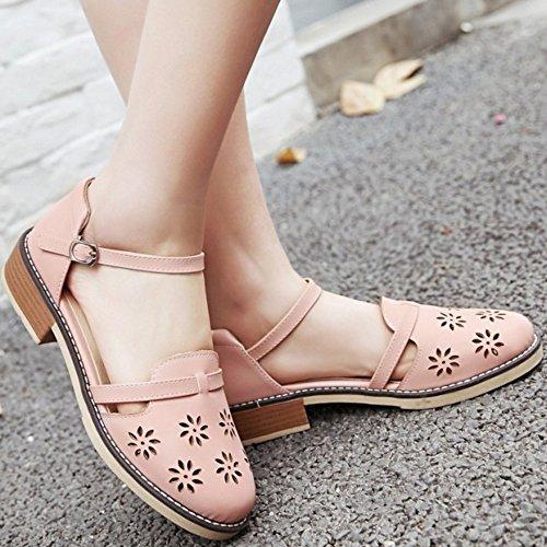 TAOFFEN Femmes Sandales Confortable Cut-out Sangle De Cheville Talons Moyen Chaussures Rose