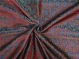 Brokat Stoff rot, mehendi grün x blau Farbe 111,8cm Zoll